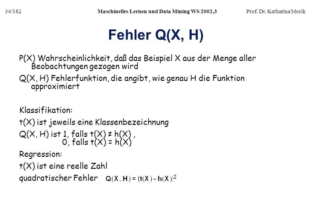 Fehler Q(X, H) P(X) Wahrscheinlichkeit, daß das Beispiel X aus der Menge aller Beobachtungen gezogen wird.