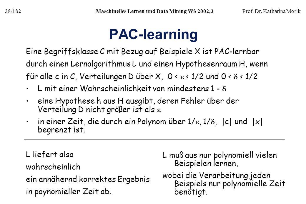 PAC-learning Eine Begriffsklasse C mit Bezug auf Beispiele X ist PAC-lernbar. durch einen Lernalgorithmus L und einen Hypothesenraum H, wenn.