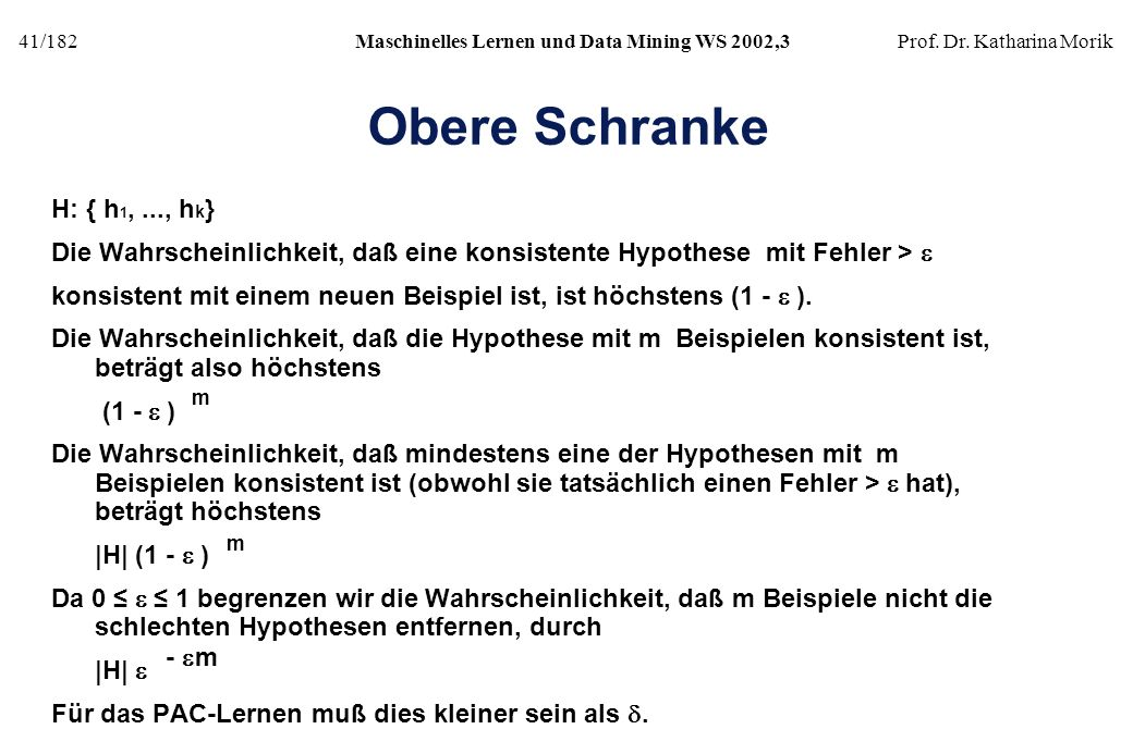 Obere Schranke H: { h1, ..., hk}