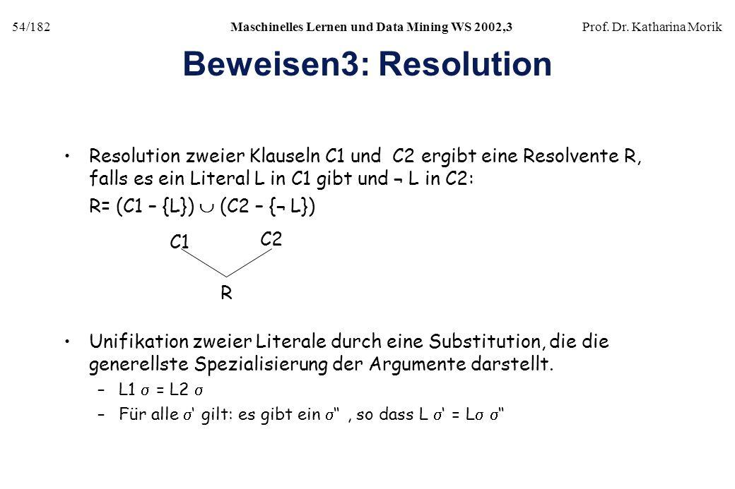 Beweisen3: Resolution Resolution zweier Klauseln C1 und C2 ergibt eine Resolvente R, falls es ein Literal L in C1 gibt und ¬ L in C2:
