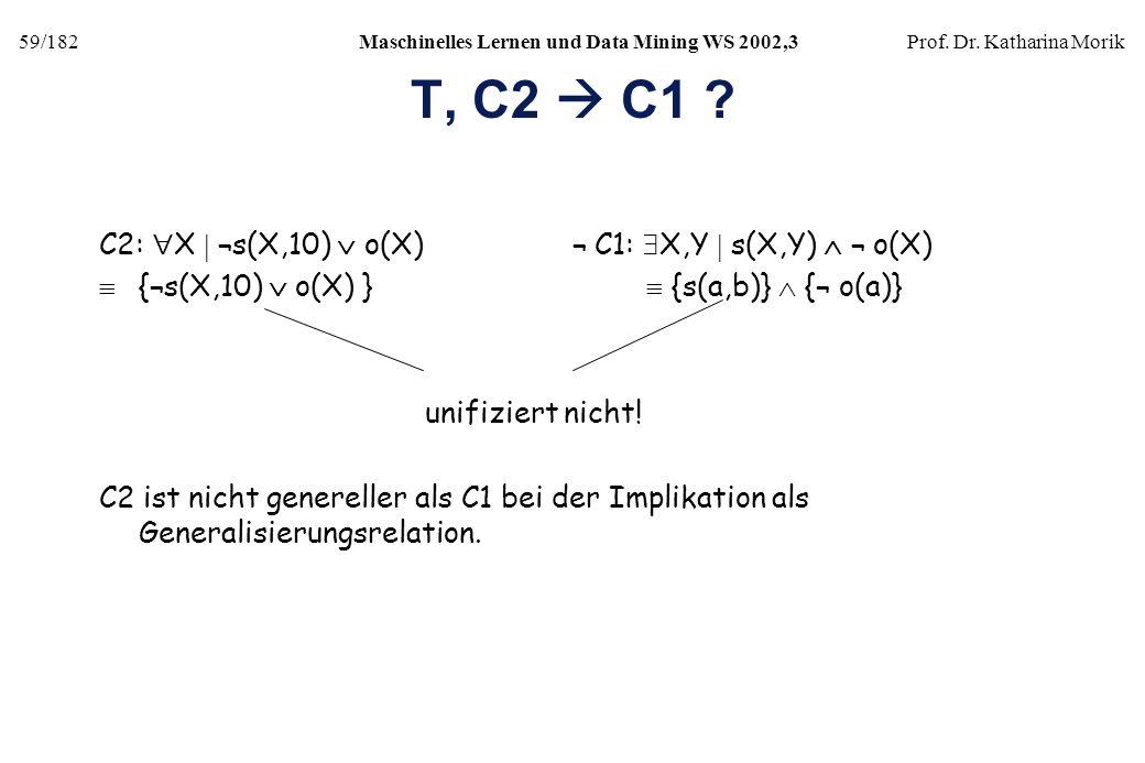 T, C2  C1 C2: X  ¬s(X,10)  o(X) ¬ C1: X,Y  s(X,Y)  ¬ o(X)