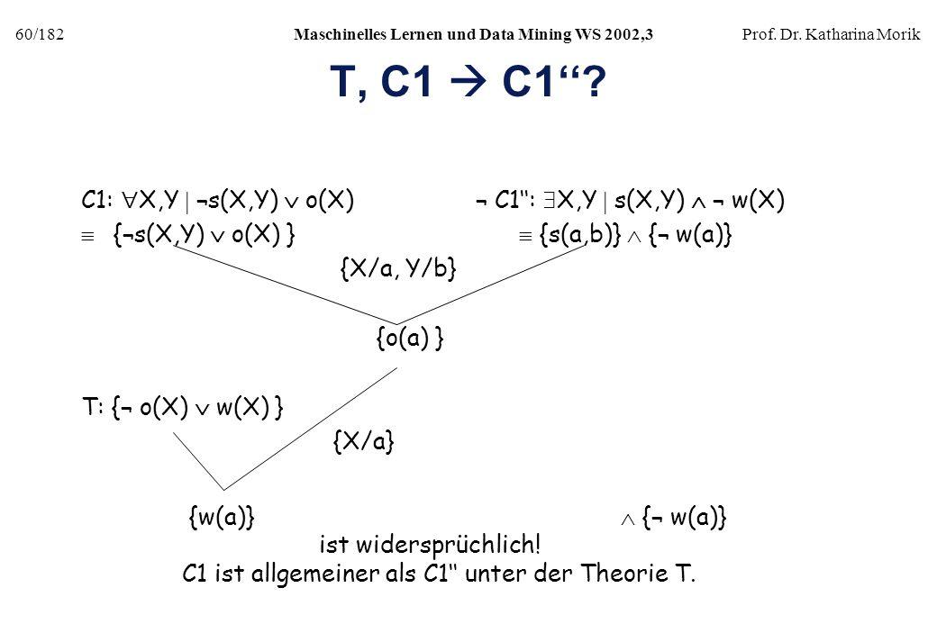 T, C1  C1'' C1: X,Y  ¬s(X,Y)  o(X) ¬ C1'': X,Y  s(X,Y)  ¬ w(X)