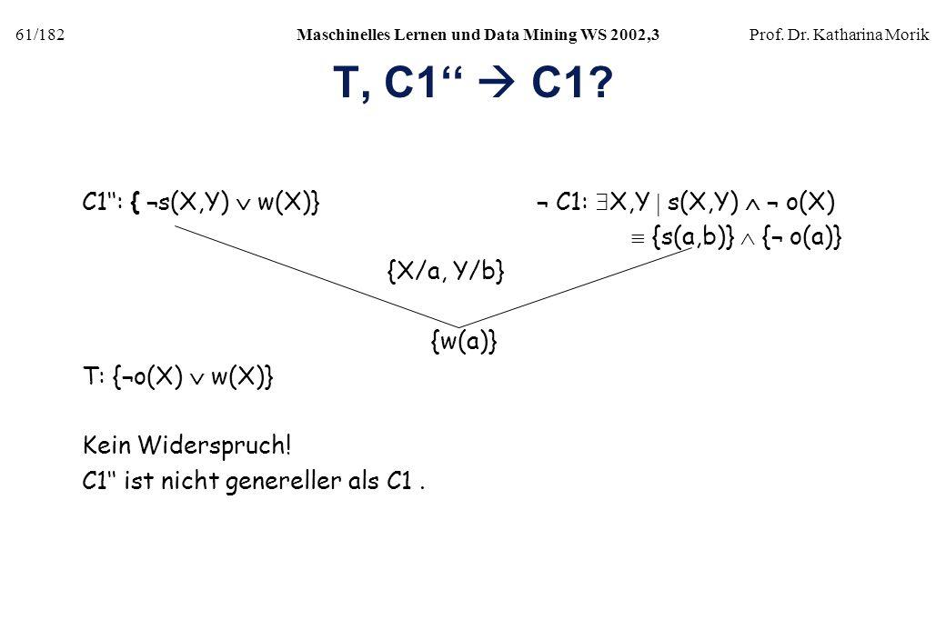 T, C1''  C1 C1'': { ¬s(X,Y)  w(X)} ¬ C1: X,Y  s(X,Y)  ¬ o(X)