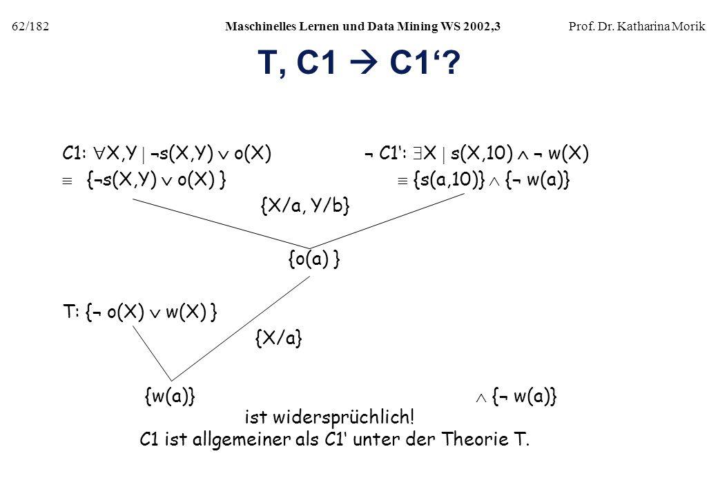 T, C1  C1' C1: X,Y  ¬s(X,Y)  o(X) ¬ C1': X  s(X,10)  ¬ w(X)