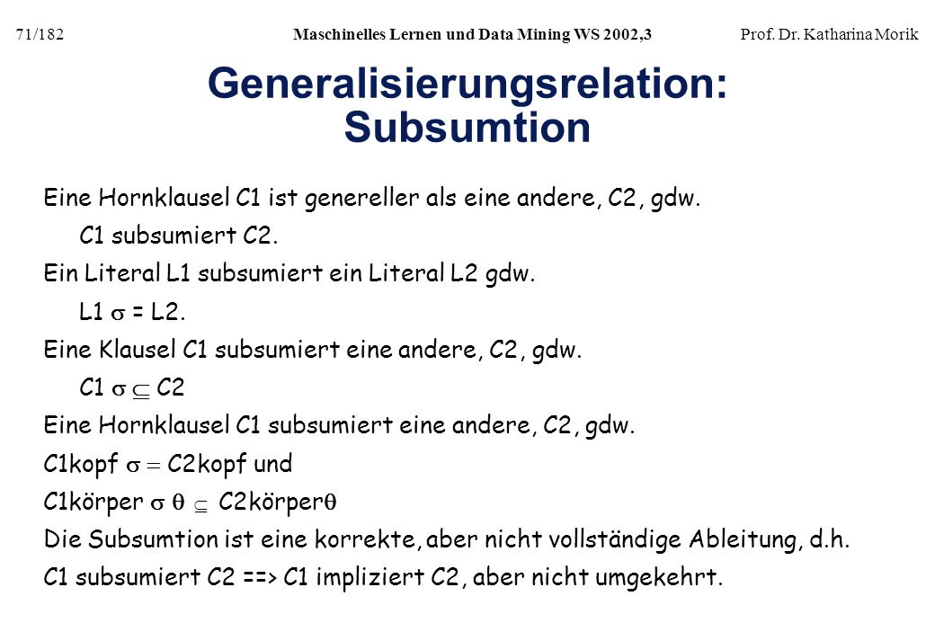 Generalisierungsrelation: Subsumtion