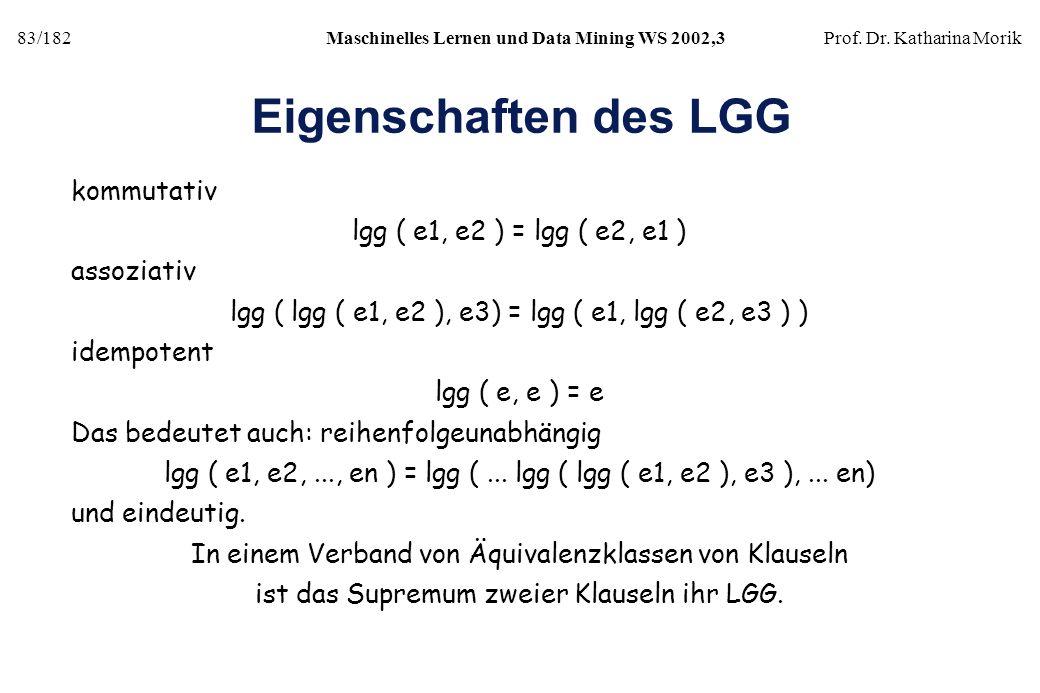 Eigenschaften des LGG kommutativ lgg ( e1, e2 ) = lgg ( e2, e1 )
