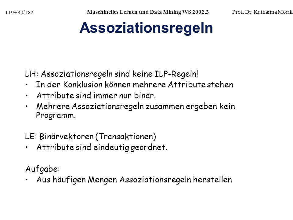 Assoziationsregeln LH: Assoziationsregeln sind keine ILP-Regeln!