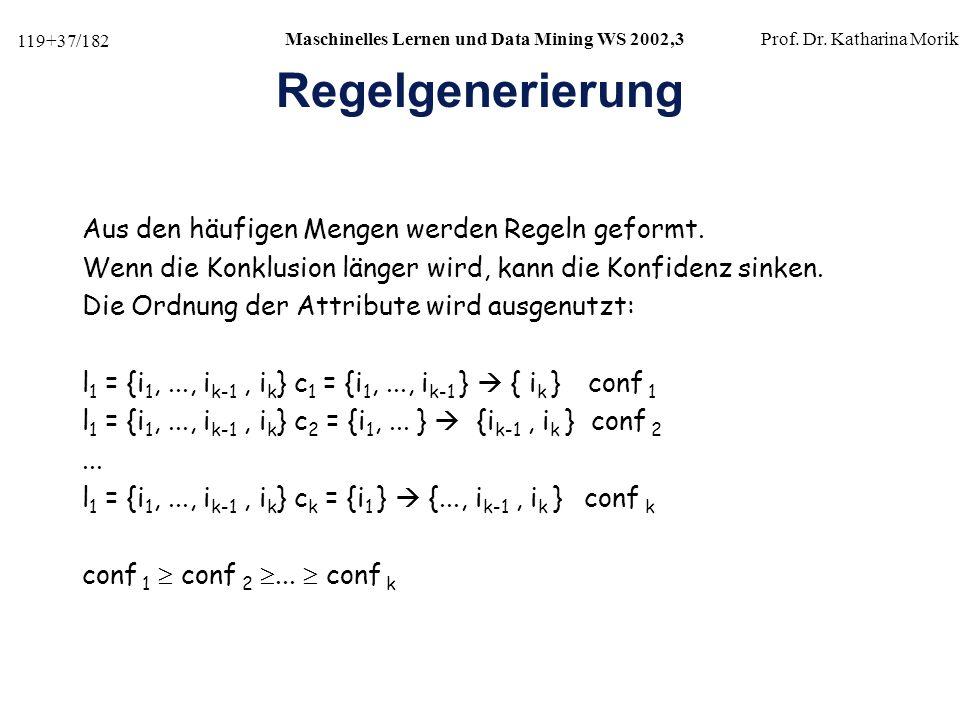 Regelgenerierung Aus den häufigen Mengen werden Regeln geformt.