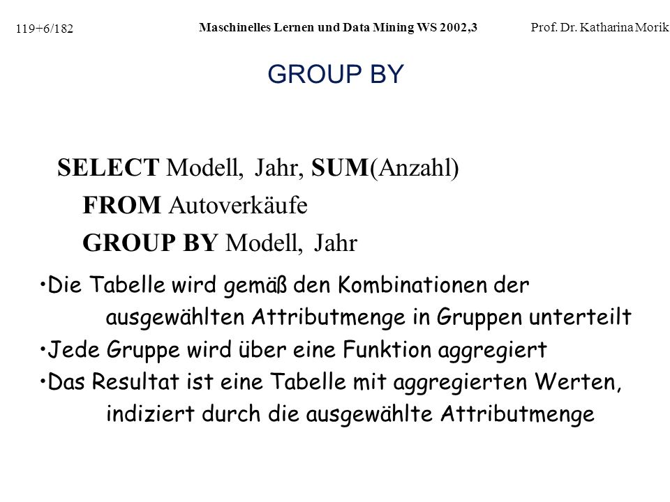 SELECT Modell, Jahr, SUM(Anzahl) FROM Autoverkäufe