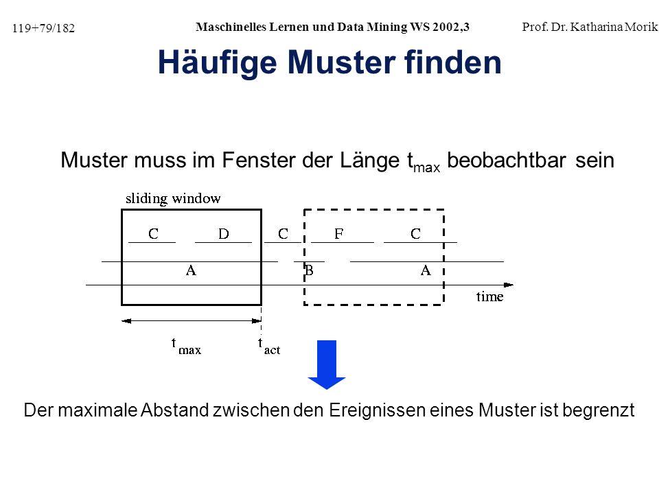 Häufige Muster finden Muster muss im Fenster der Länge tmax beobachtbar sein.