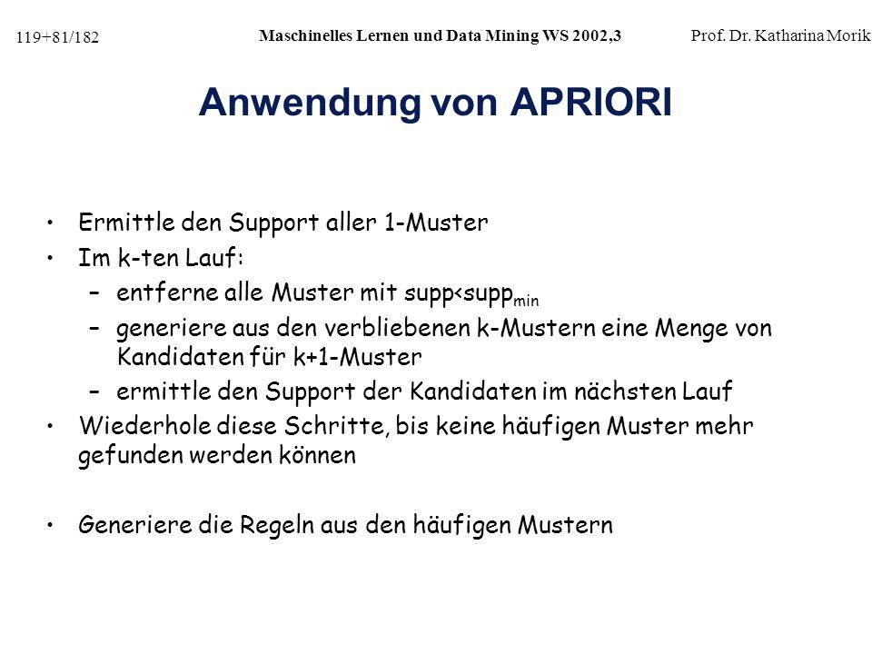 Anwendung von APRIORI Ermittle den Support aller 1-Muster