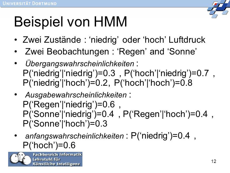 Beispiel von HMM Zwei Zustände : 'niedrig' oder 'hoch' Luftdruck