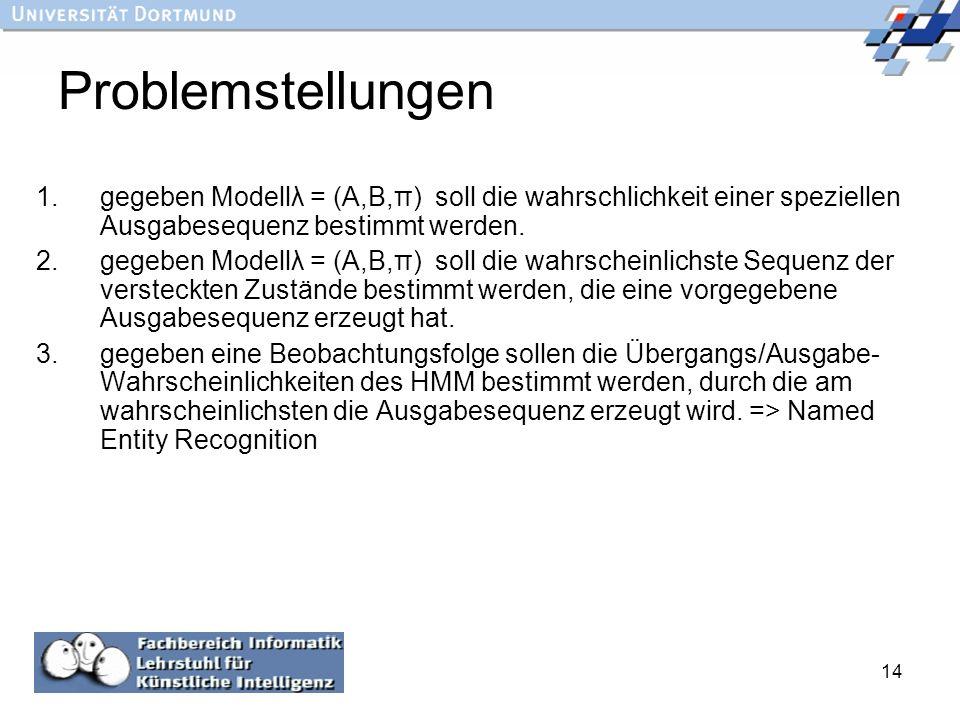 Problemstellungen gegeben Modellλ = (A,B,π) soll die wahrschlichkeit einer speziellen Ausgabesequenz bestimmt werden.