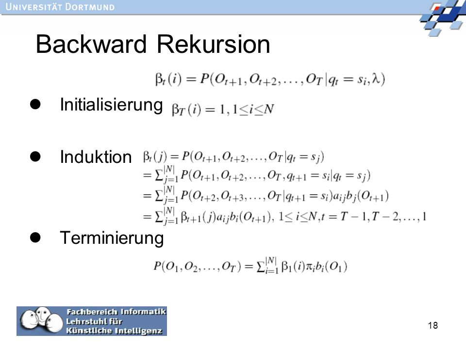 Backward Rekursion Initialisierung Induktion Terminierung :