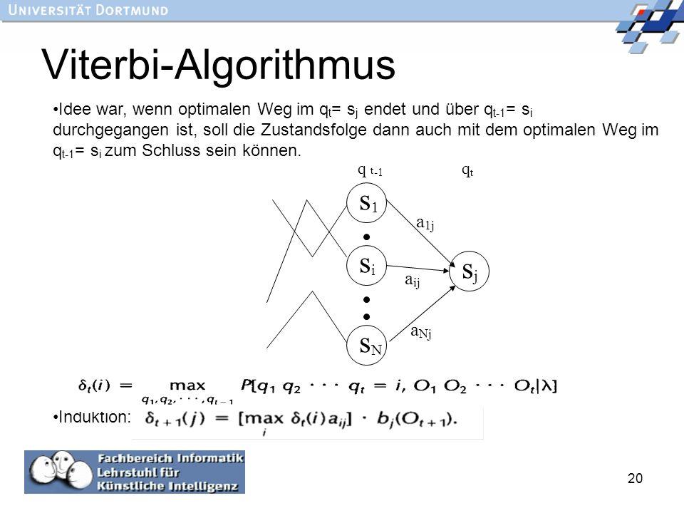 Viterbi-Algorithmus s1 si sj sN a1j aij aNj