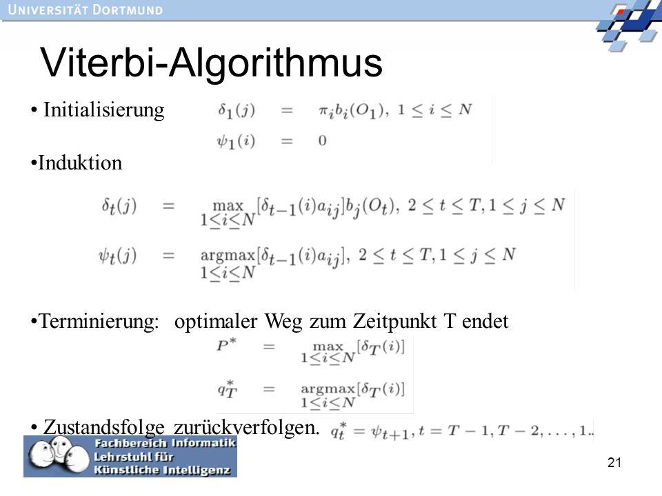 Viterbi-Algorithmus Initialisierung Induktion