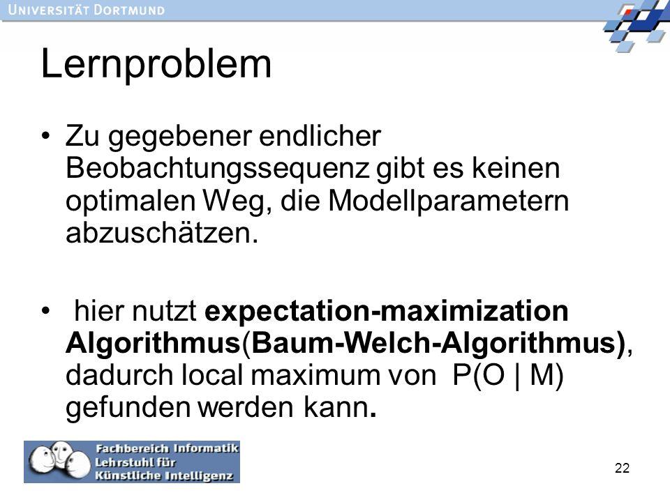 Lernproblem Zu gegebener endlicher Beobachtungssequenz gibt es keinen optimalen Weg, die Modellparametern abzuschätzen.