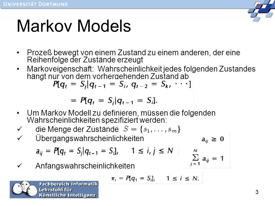 Markov Models Prozeß bewegt von einem Zustand zu einem anderen, der eine Reihenfolge der Zustände erzeugt.