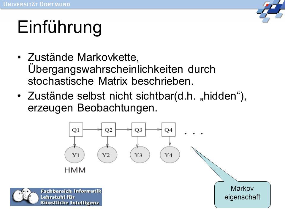 Einführung Zustände Markovkette, Übergangswahrscheinlichkeiten durch stochastische Matrix beschrieben.