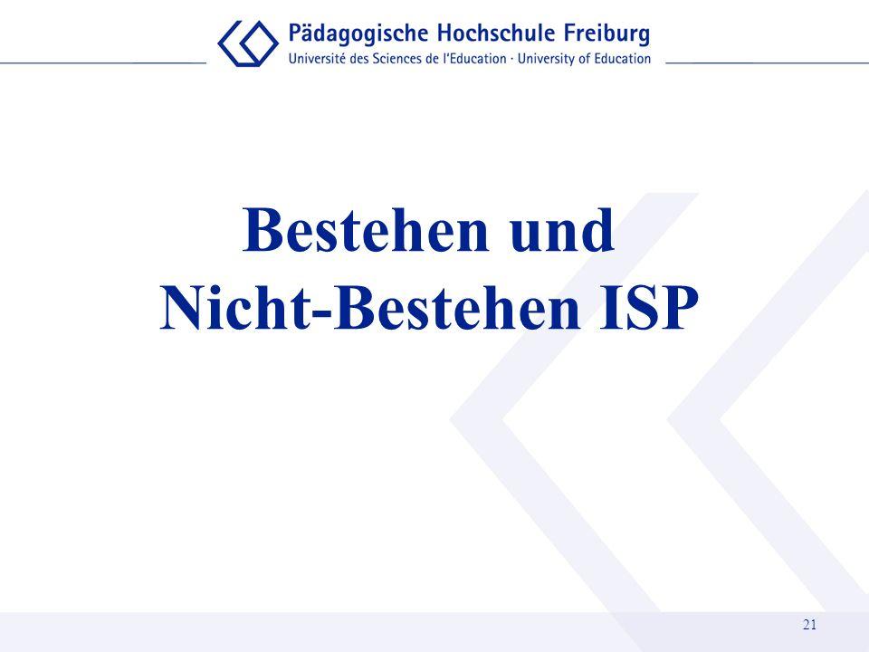 Bestehen und Nicht-Bestehen ISP