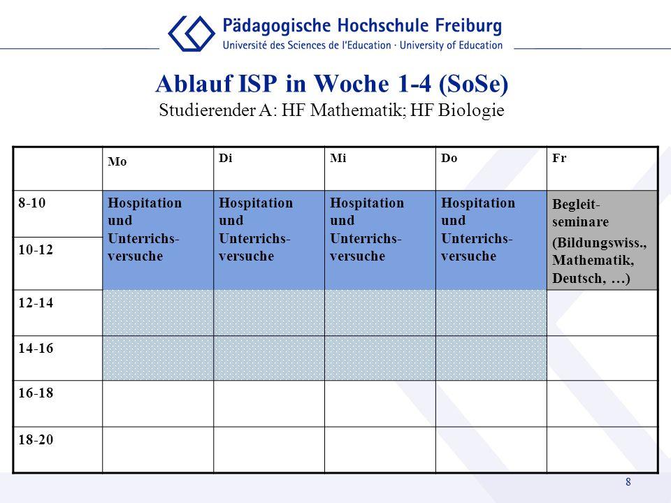 Ablauf ISP in Woche 1-4 (SoSe) Studierender A: HF Mathematik; HF Biologie