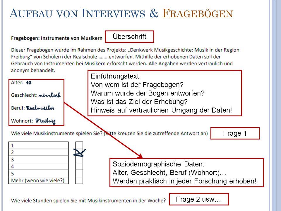 Aufbau von Interviews & Fragebögen