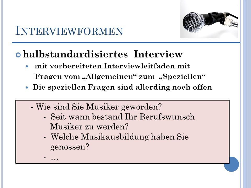 Interviewformen halbstandardisiertes Interview