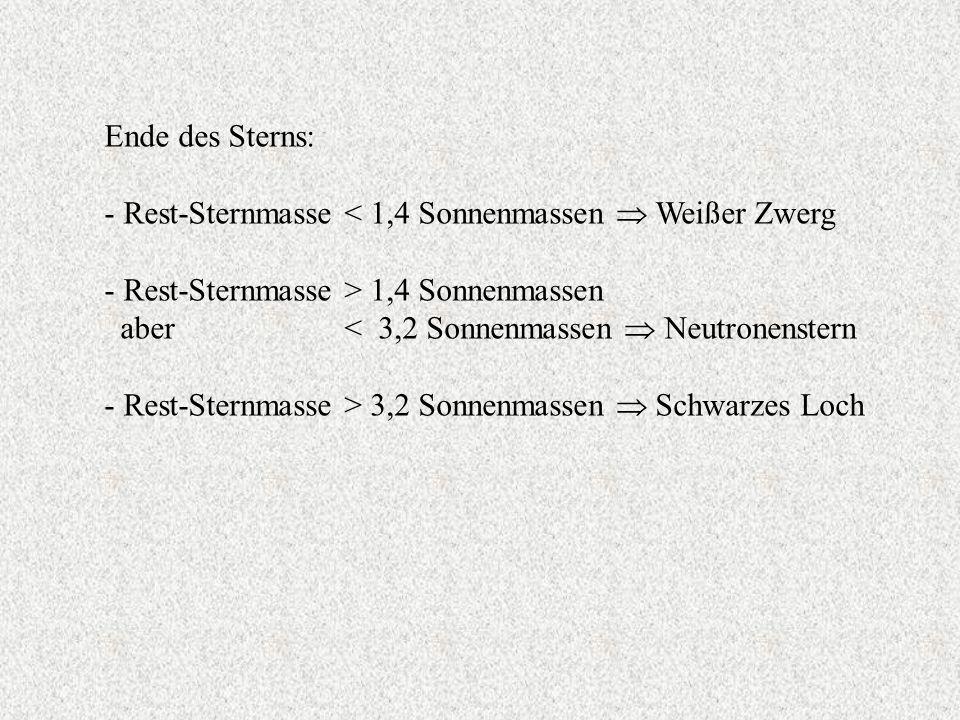 Ende des Sterns: - Rest-Sternmasse < 1,4 Sonnenmassen  Weißer Zwerg. - Rest-Sternmasse > 1,4 Sonnenmassen.