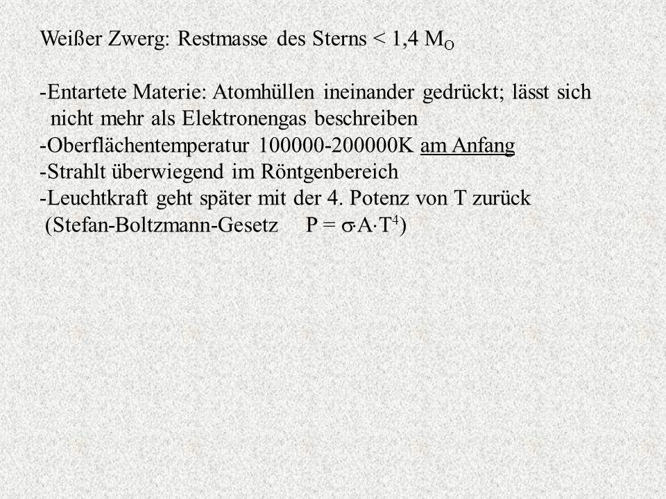 Weißer Zwerg: Restmasse des Sterns < 1,4 MO