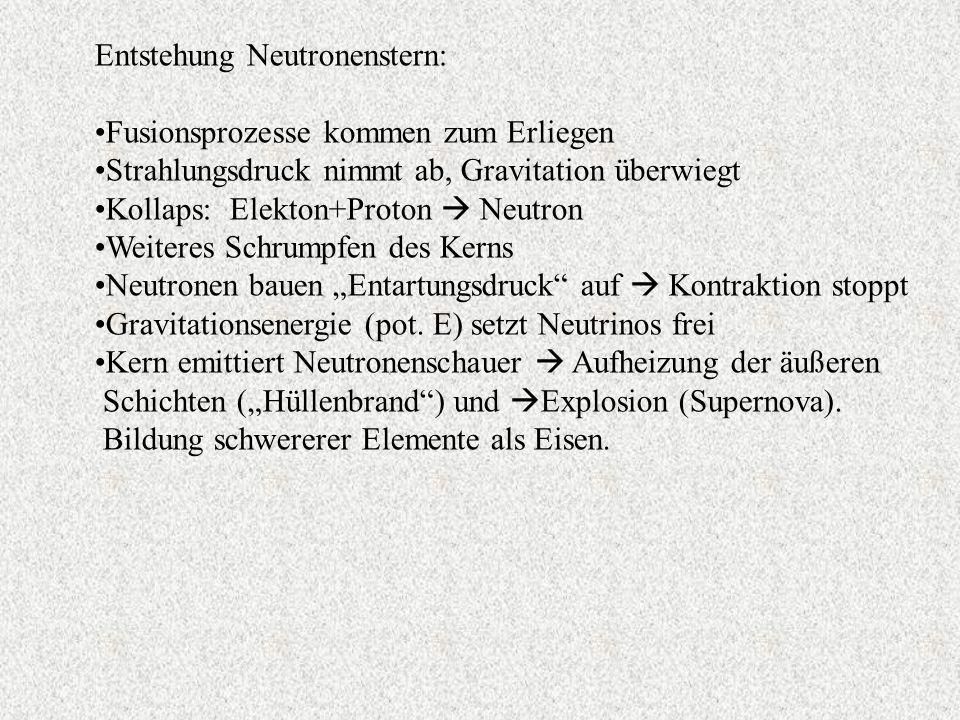 Entstehung Neutronenstern: