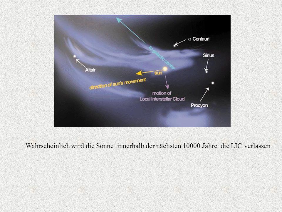Wahrscheinlich wird die Sonne innerhalb der nächsten 10000 Jahre die LIC verlassen