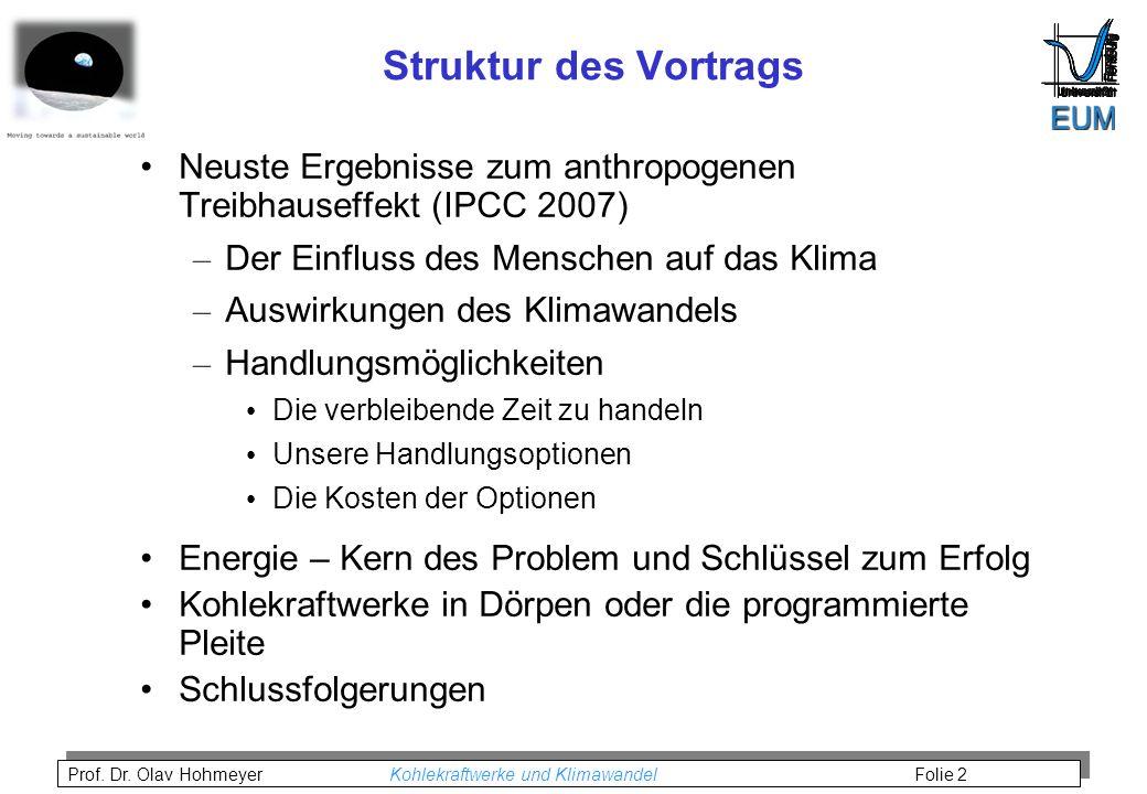 Struktur des Vortrags Neuste Ergebnisse zum anthropogenen Treibhauseffekt (IPCC 2007) Der Einfluss des Menschen auf das Klima.