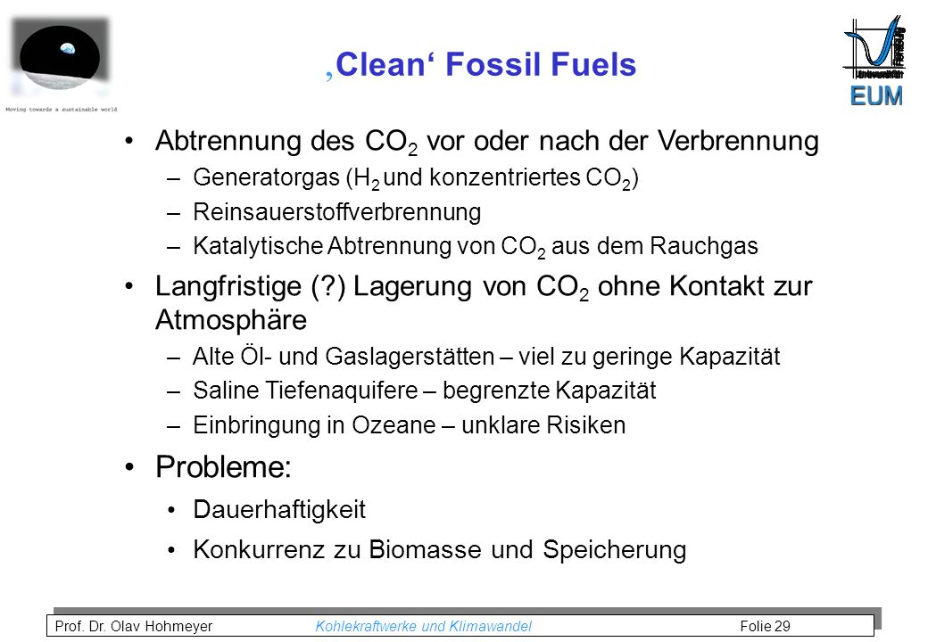 'Clean' Fossil Fuels Probleme: