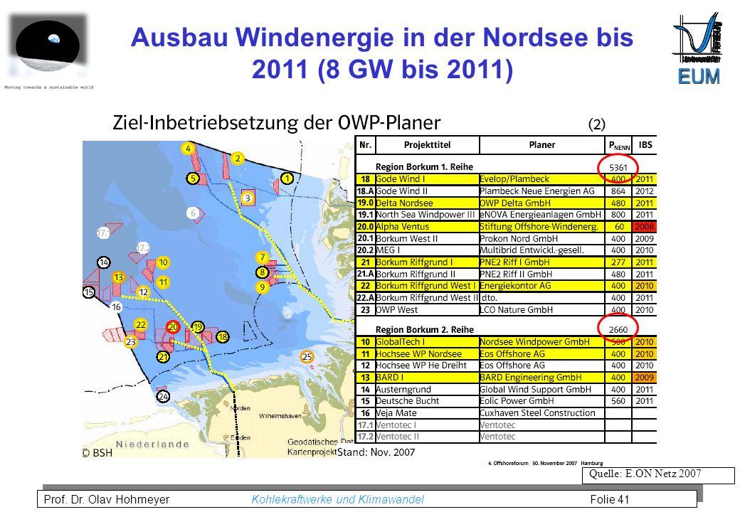 Ausbau Windenergie in der Nordsee bis 2011 (8 GW bis 2011)