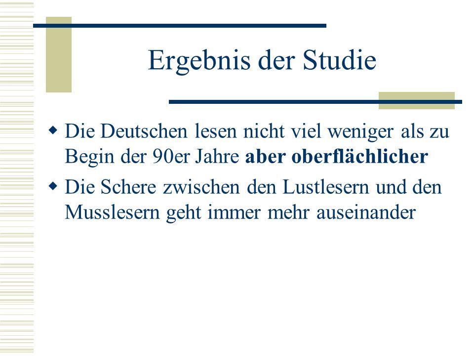 Ergebnis der StudieDie Deutschen lesen nicht viel weniger als zu Begin der 90er Jahre aber oberflächlicher.