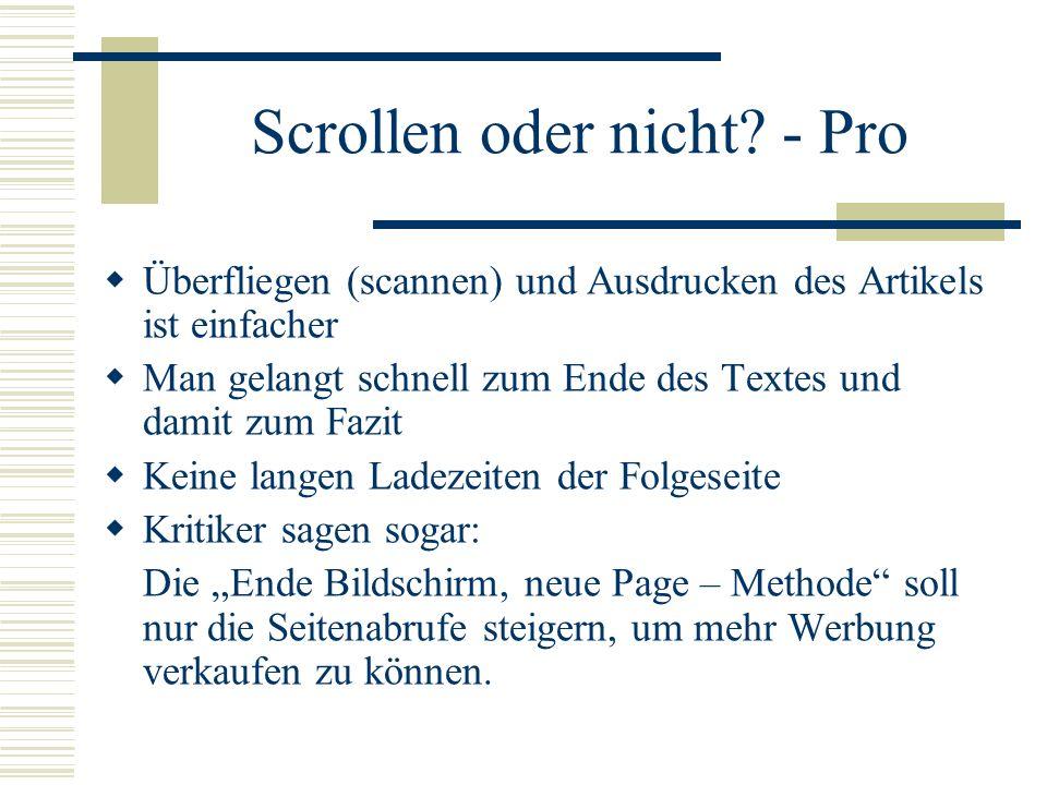 Scrollen oder nicht - Pro