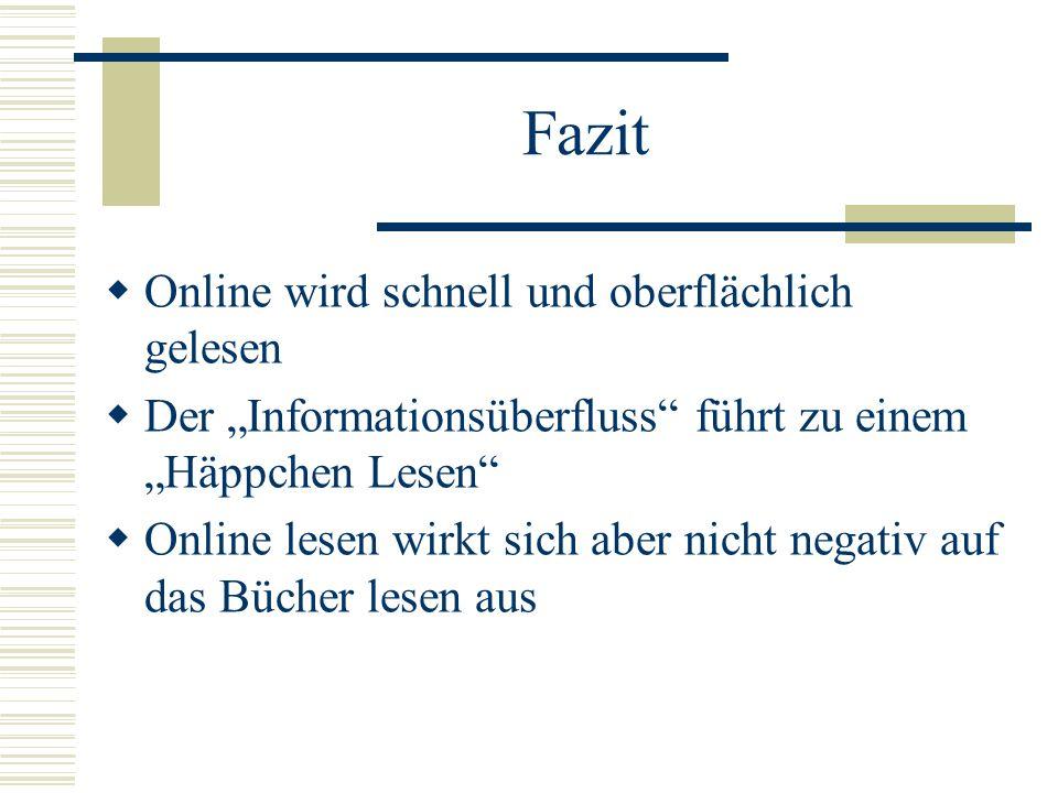 Fazit Online wird schnell und oberflächlich gelesen