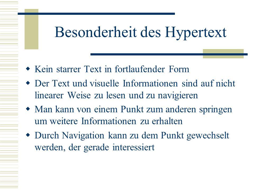 Besonderheit des Hypertext