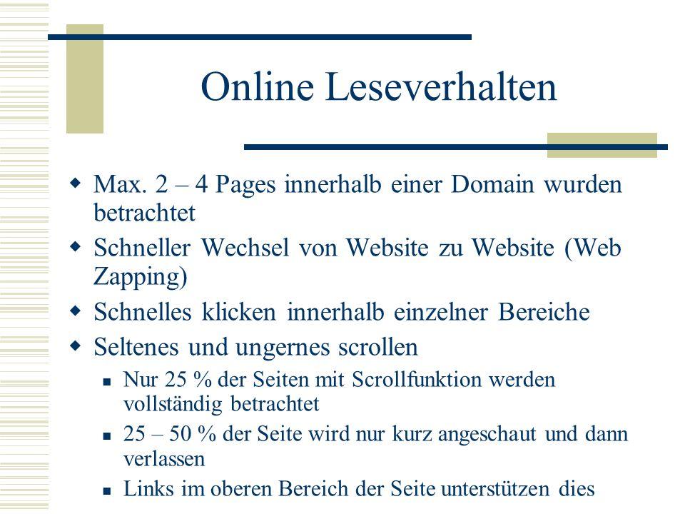 Online Leseverhalten Max. 2 – 4 Pages innerhalb einer Domain wurden betrachtet. Schneller Wechsel von Website zu Website (Web Zapping)