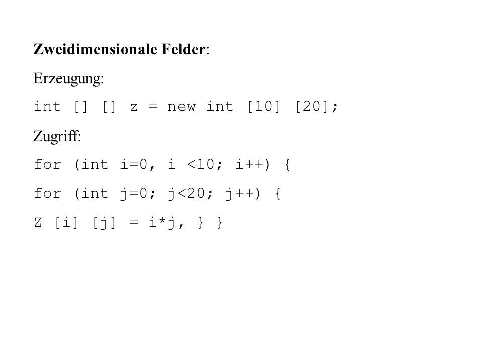 Zweidimensionale Felder: