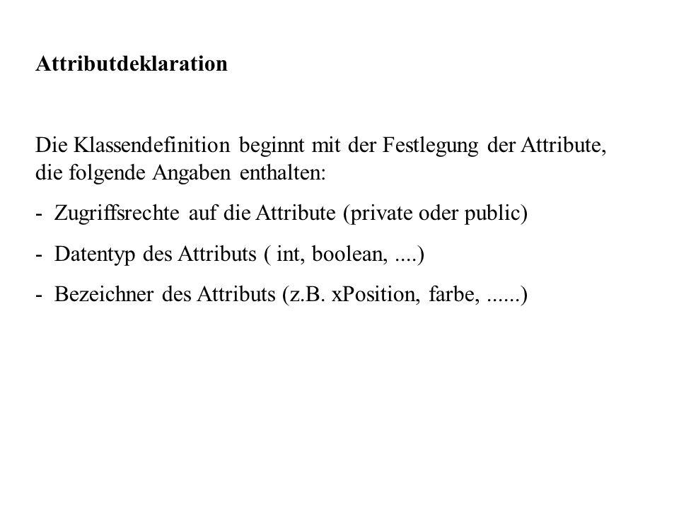 Attributdeklaration Die Klassendefinition beginnt mit der Festlegung der Attribute, die folgende Angaben enthalten: