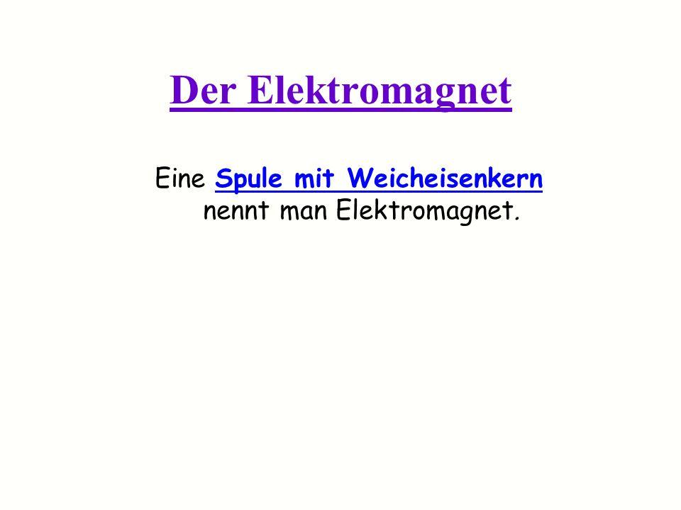 Eine Spule mit Weicheisenkern nennt man Elektromagnet.
