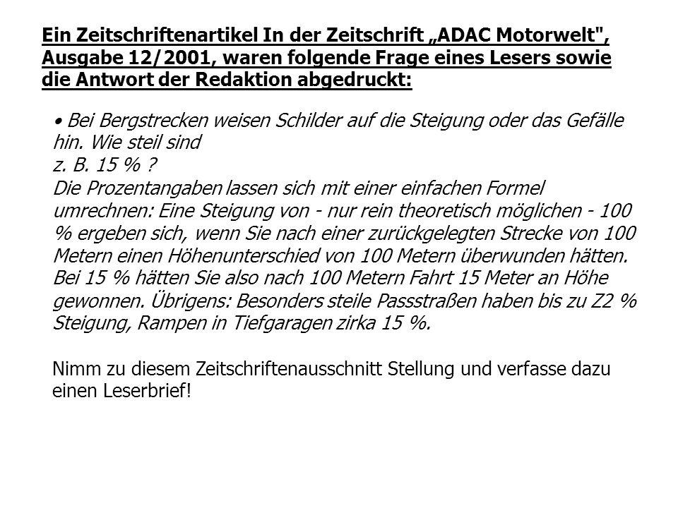 """Ein Zeitschriftenartikel In der Zeitschrift """"ADAC Motorwelt ,"""