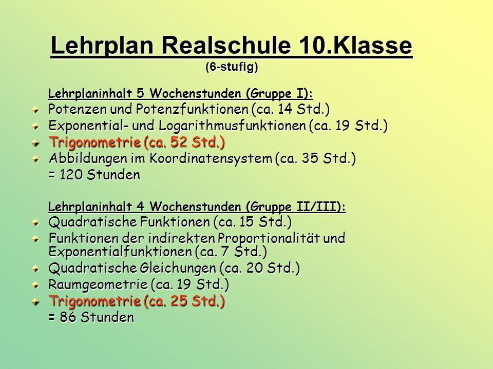 Lehrplan Realschule 10.Klasse (6-stufig)