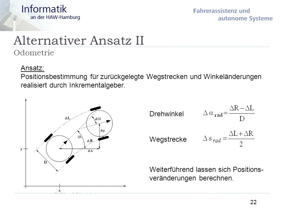 Alternativer Ansatz II Odometrie