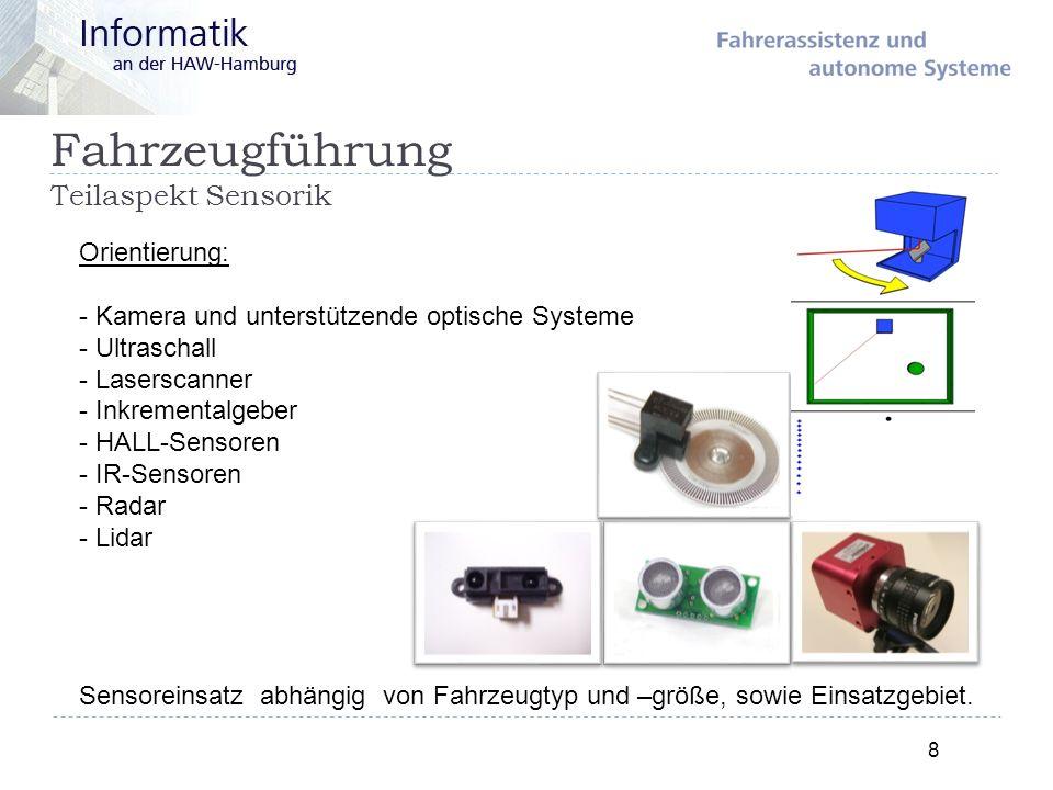 Fahrzeugführung Teilaspekt Sensorik