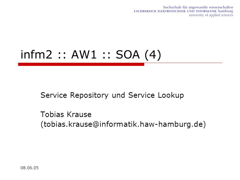 infm2 :: AW1 :: SOA (4) Service Repository und Service Lookup