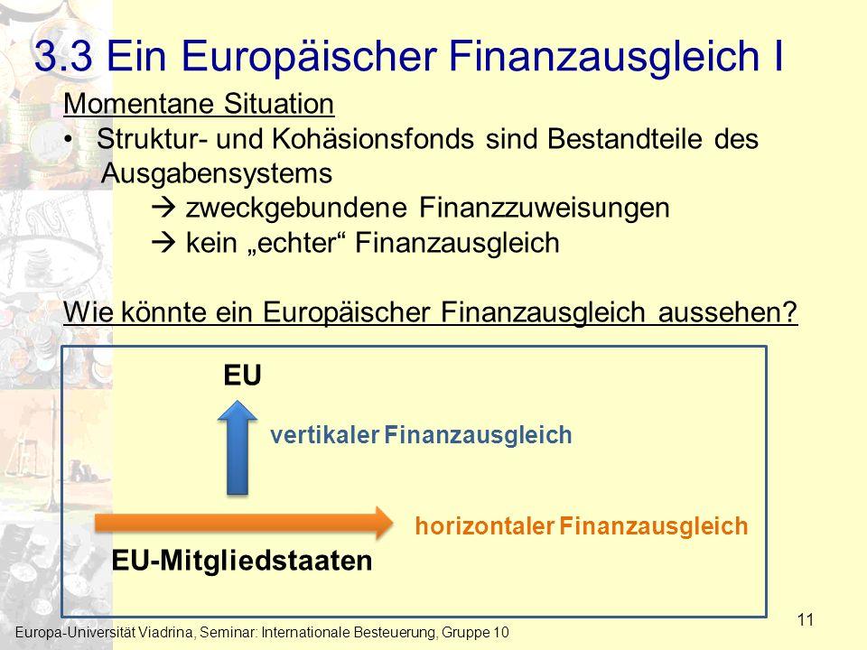 3.3 Ein Europäischer Finanzausgleich I