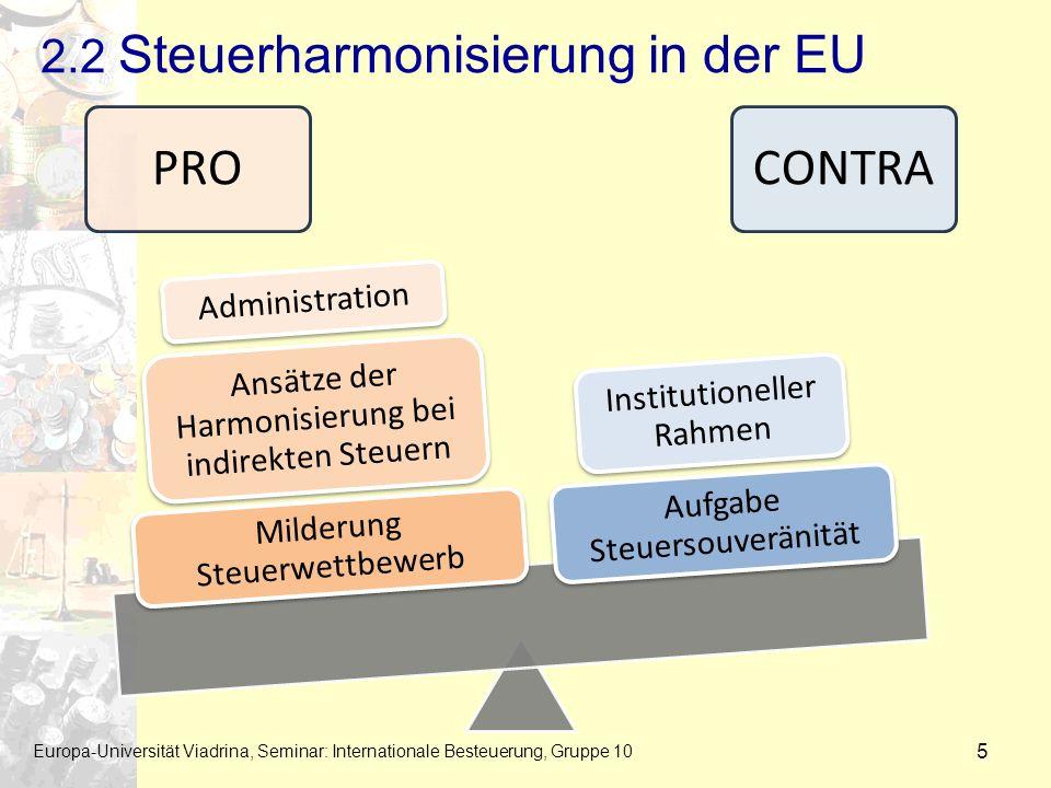 2.2 Steuerharmonisierung in der EU