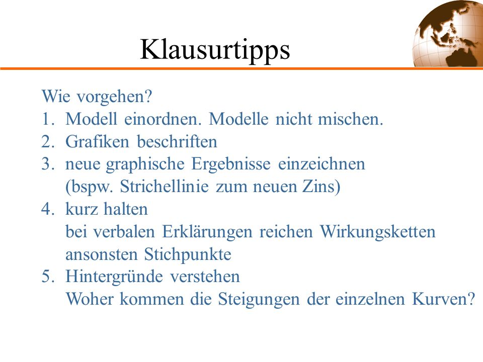 Klausurtipps Wie vorgehen Modell einordnen. Modelle nicht mischen.